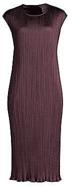 Max Mara Women's Gineceo Belted Plissé Sleeveless Sheath Dress