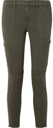 J Brand Cropped Cotton-blend Twill Skinny Pants - Army green