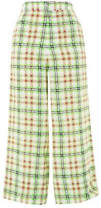 Topshop Checked Silk Pajama Trousers