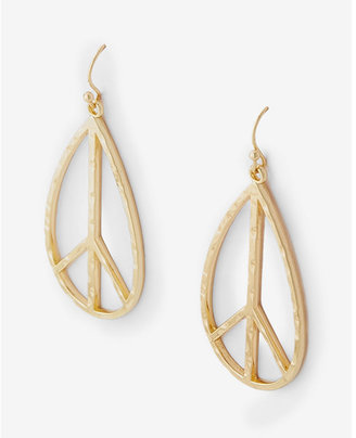 Express Teardrop Peace Sign Drop Earrings $19.90 thestylecure.com