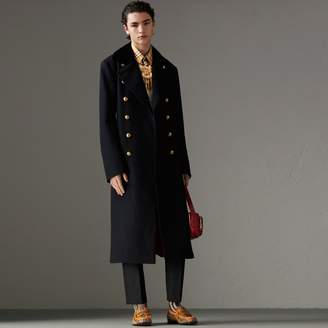 Burberry Velvet Collar Doeskin Wool Military Coat