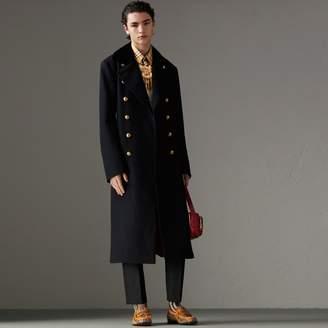 Burberry Velvet Collar Doeskin Wool Military Coat