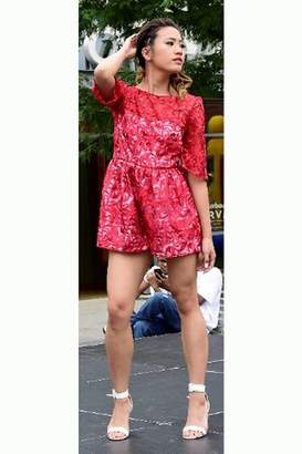 Tiny House Of Fashion Red Lace Romper