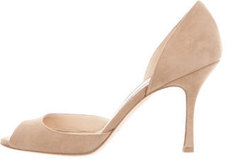 Jimmy Choo Jimmy Choo Suede Peep-Toe Pumps