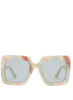 Gucci Glitter stripe square-frame sunglasses