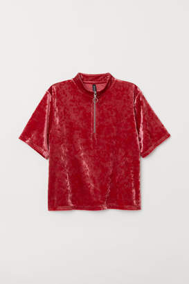 H&M Velour T-shirt - Red