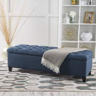 Noble House Paskal Tufted Fabric Storage Ottoman, Dark Blue