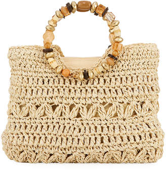 Capelli of New York Straworld Ring-Handle Woven Toyo Straw Tote Bag, Natural