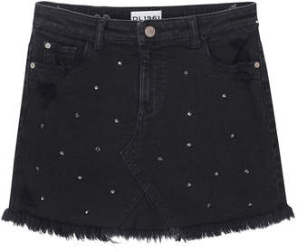 DL1961 Premium Denim Distressed Frayed-Hem Rhinestone Denim Skirt, Size 7-16