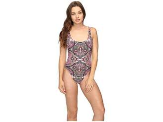 Lucky Brand Tapestry High Leg Tank Maillot One-Piece Women's Swimsuits One Piece