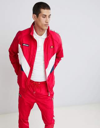 Ellesse Gerano shell suit track jacket with taping in red