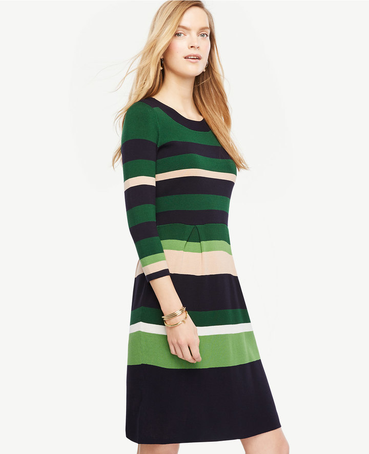 Ann TaylorStripe Flare Sweater Dress