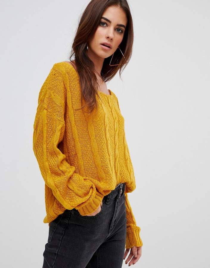 off shoulder cable knitted jumper