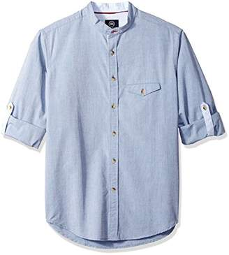Badger Smith Men's Cotton Melange Chambray Regular Fit Banded Collar Shirt S
