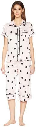 Kate Spade Dot Satin Capris Pajama Set Women's Pajama Sets