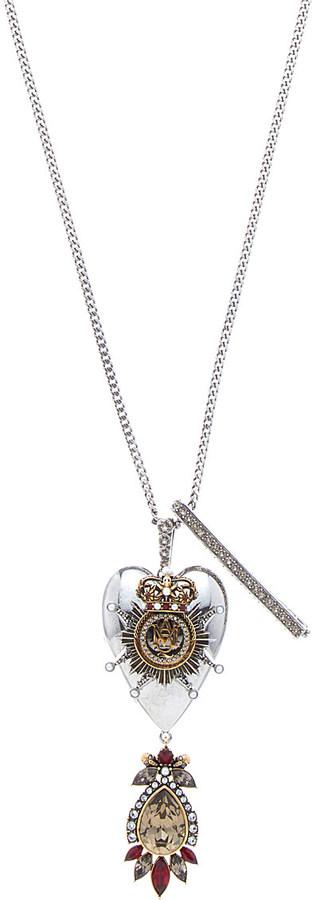 Alexander McQueenAlexander Mcqueen Heart trinket brass necklace