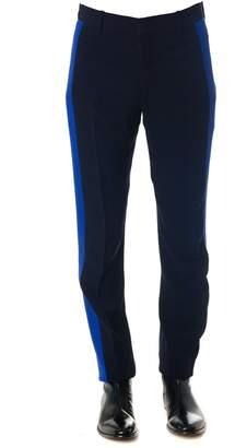 Alexander McQueen Navy Side Stripe Pants In Wool