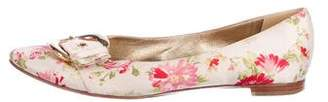 Casadei Satin Floral Print Flats