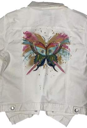 Blue Age Jeans [Blue Age] Women's Colored Denim Jean Jacket with Hand Painted Pink Butterfly