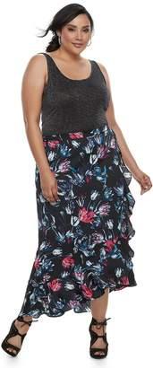 JLO by Jennifer Lopez Plus Size Ruffle Satin Maxi Skirt