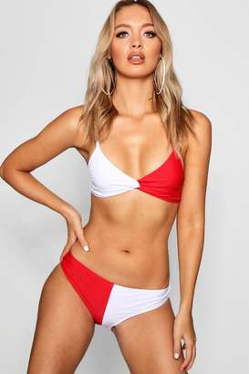 boohoo USA Twist Triangle High Leg Bikini