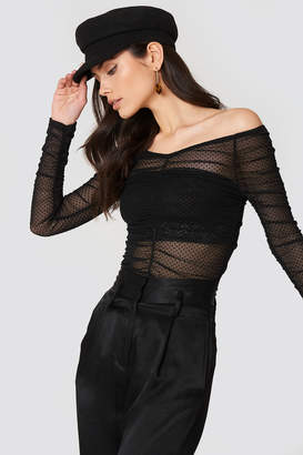 Na Kd Party Off Shoulder Dotted Mesh Top Black