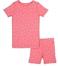 Skylar Luna Kids' Heart-Print Organic Cotton Pajama Set-Pink