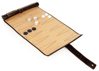 Smythson Mara Leather Backgammon Travel Set - Mens - Brown