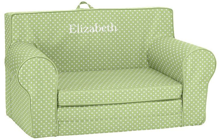 Pottery Barn Kids Green Mini Dot Fold Out Anywhere Lounger