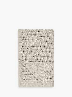 Croft Collection Cotton Chain Knit Throw, Natural