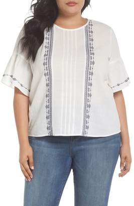 Vince Camuto Ruffle Sleeve Embroidered Crinkle Cotton Top