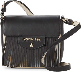 Patrizia Pepe Black & Beige Mini Fringe Crossbody