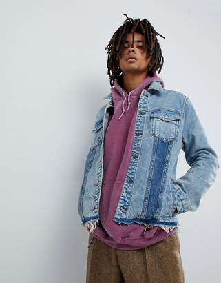 Mennace Denim Jacket In Midwash Blue With Contrast Panels