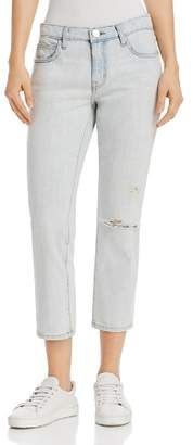 Current/Elliott The Cropped Straight-Leg Jeans in Channon Destroy