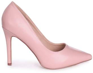 Linzi Colette Dusky Pink Faux Leather Classic Court Shoe with Stiletto Heel