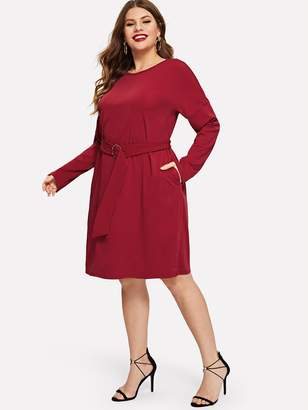 Shein Plus Waist Belted Drop Sleeve Dress