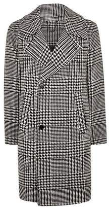 Topman Mens Black And White Check Overcoat With Wool