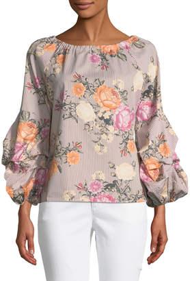 Neiman Marcus 3/4 Lantern Sleeve Striped Floral Blouse