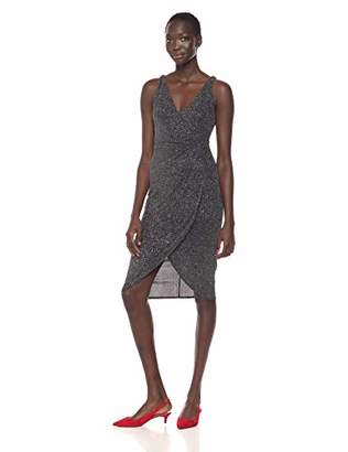 Maggy London Women's Multi Glitter Draped Front Cocktail Dress