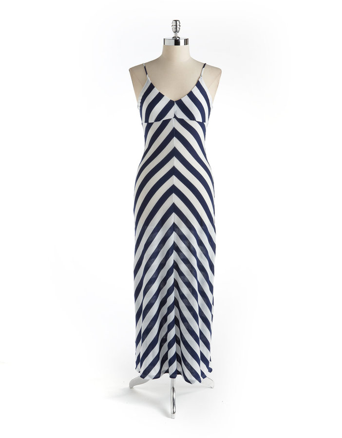 BACKLESS Chevron Striped Maxi Dress