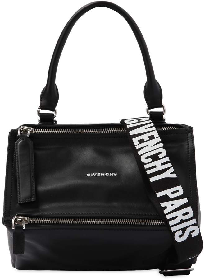 Small Pandora Leather Bag W/ Logo Strap