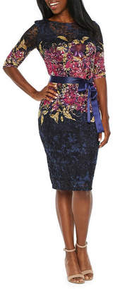 Chetta B BE BY Be by 3/4 Sleeve Floral Lace Sheath Dress