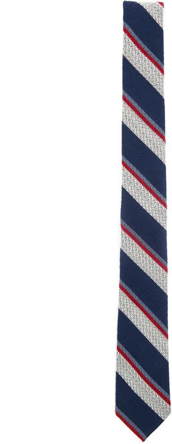 Thom Browne Wool Stripe Tie in Grey & Navy & Red