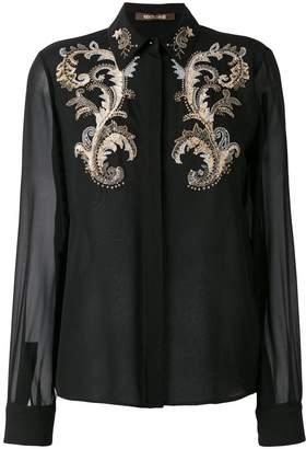Roberto Cavalli embroidered detail sheer shirt