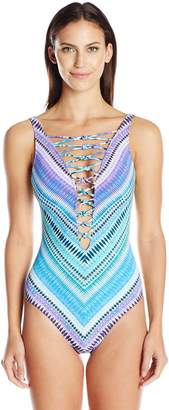 Bleu Rod Beattie Bleu | Rod Beattie Women's Desert Heat Lattice-Front One-Piece Swimsuit
