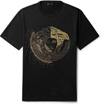 Versace Logo-Embellished Cotton-Jersey T-Shirt - Men - Black