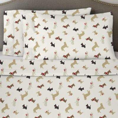 Bed Bath & Beyond Pointehaven 170 GSM Winter Dogs Flannel Queen Sheet Set in White/Brown