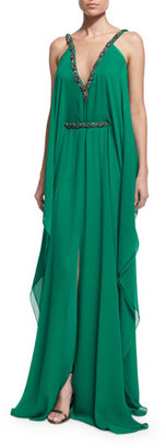 Theia Sleeveless Embellished Belted Caftan Dress $1,295 thestylecure.com