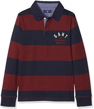 Gant Boy's Barstripe Ls Hr Long Sleeve Top, (Port Red 605), (Size: 122/128)