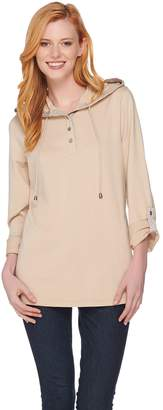 Susan Graver Weekend French Terry A-Line Tunic with Novelty Buttons